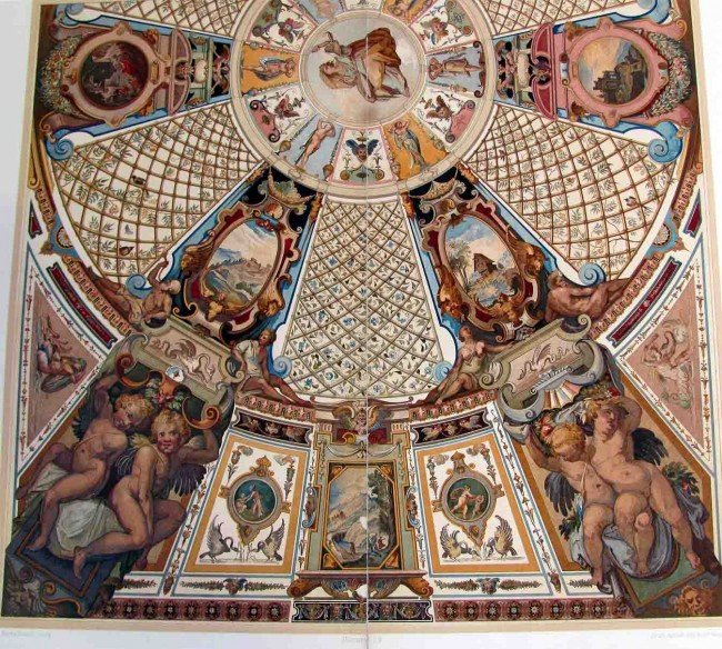 90993: c1700 Architectural Italy Church Ceiling Engrav