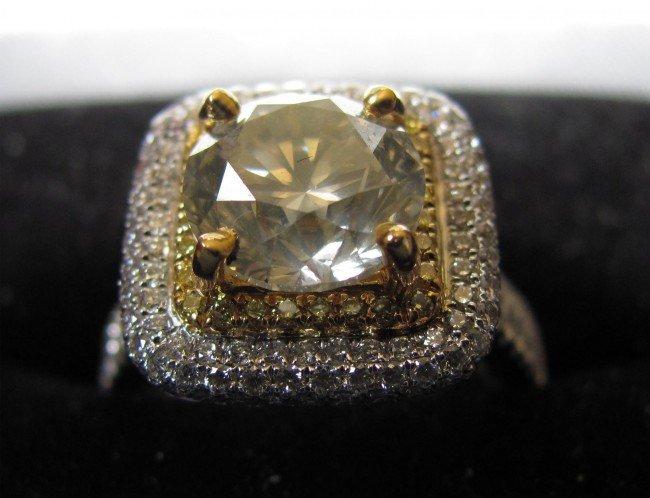91232: 3.83ct SI2 Diamond 22KT/18KT Gold Ring w/COA