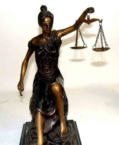 90984: Bronze Sculpture of Lady Justice with Scale