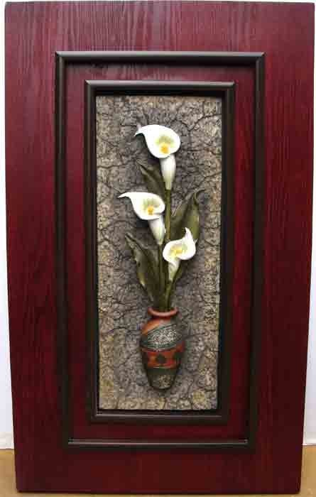 90983: CALA Lillies Relief sculpture in Vase Framed