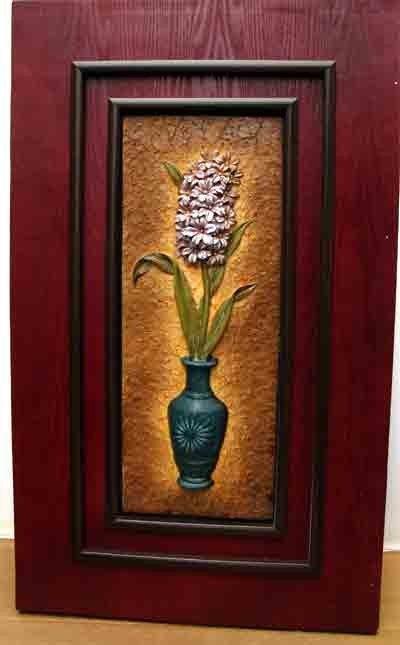 90982: Floral Bouquet In Vase Relief Sculpture Framed