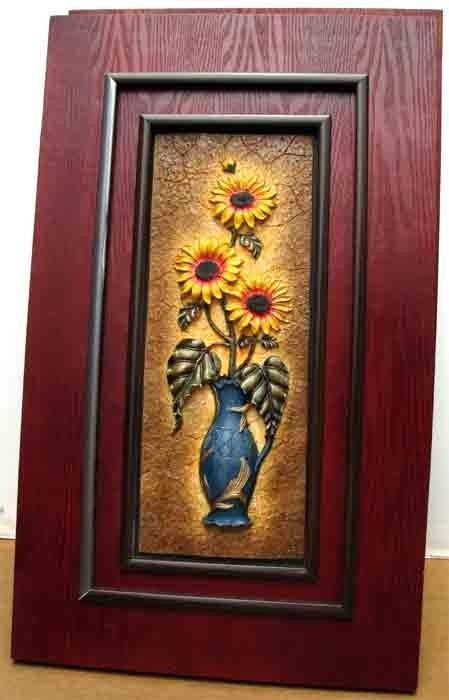 90281: Sunflower Bouquet in vase Relief Sculpture Frame