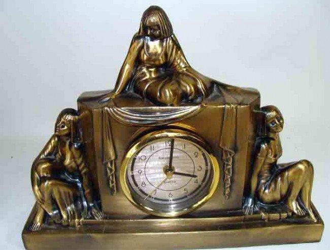 90277: Art Deco Working Brass Clock by Sasparilla 1980'
