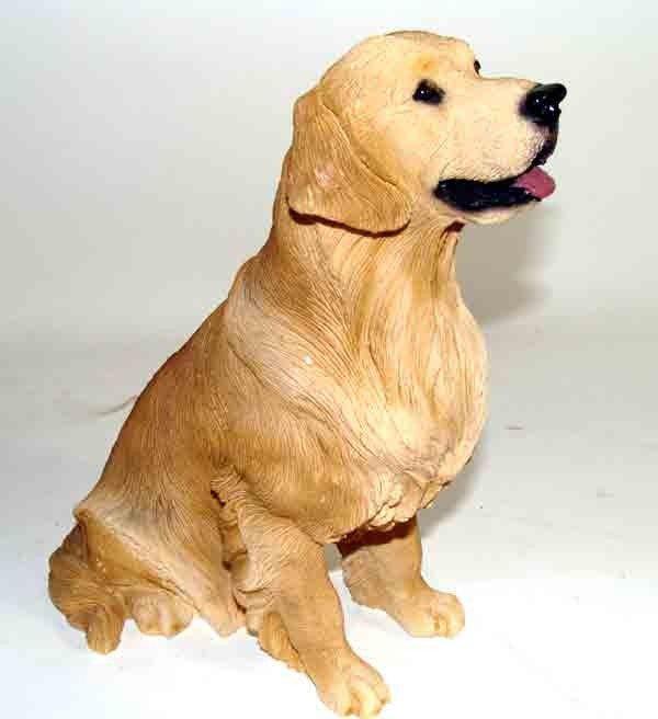 "90276: Golden Labrador Dog Figurine Hand Painted 9"" tal"