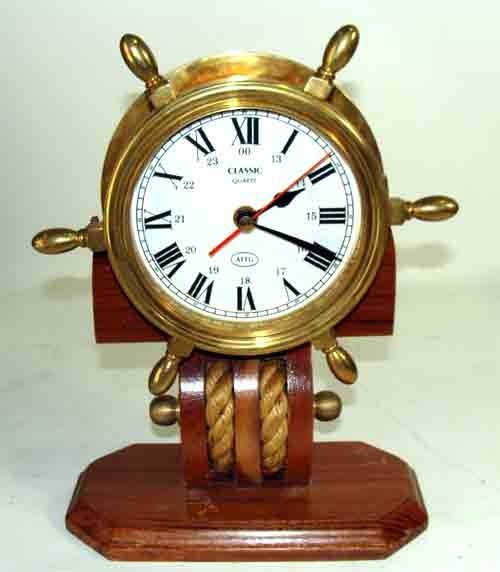 90274: Nautical Ship's Wheel Brass Quartz Clock on Wood