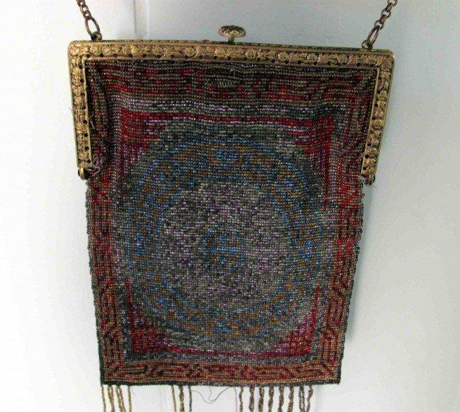 5A: Antique Circa 1880s Hand Made Glass Beaded Bag