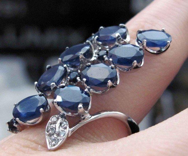 10B: 9ct Sapphire & .20ct Diamond Silver Ladies Ring