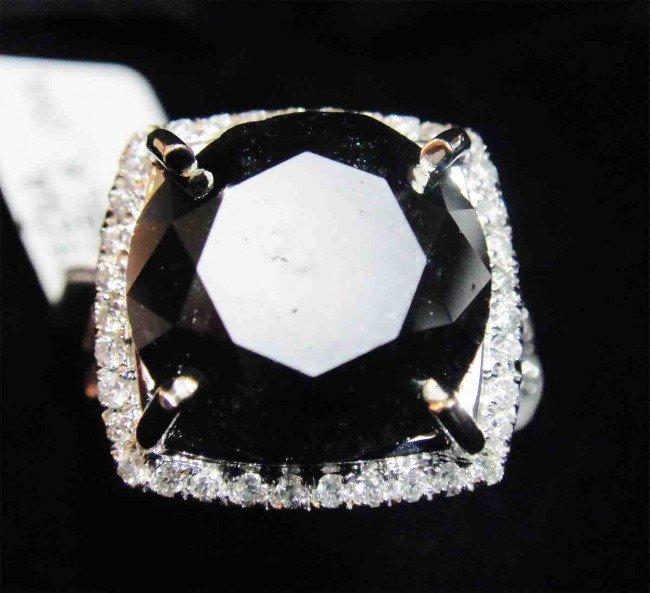 10.50ct. TW Black & White Diamond 14KT White Gold Ring
