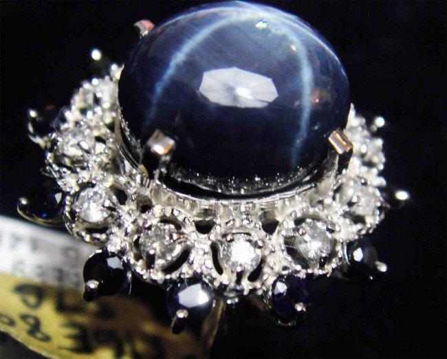 10.37ct. Blue Sapphire & 0.50ct. Diamond 14k Gold Ring