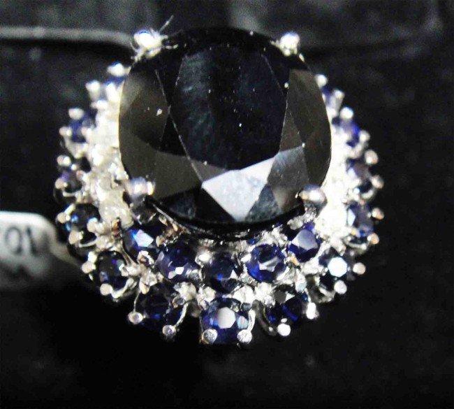 15.82ct. Blue Sapphire & 0.56ct Diamond 14KT overlay