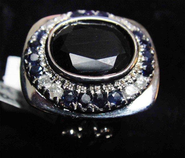 11.01ct. Blue Sapphire & 0.35ct. Diamond Silver Ring