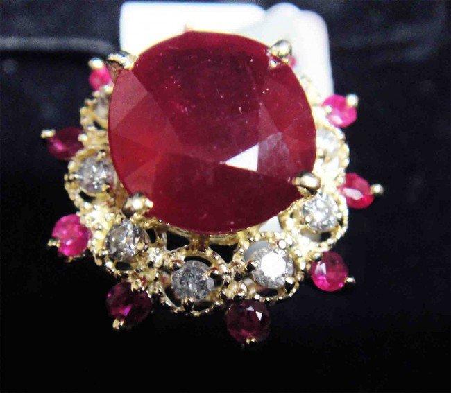 9.75ct. Ruby & 0.44ct. Diamond 14KTY Gold Ring