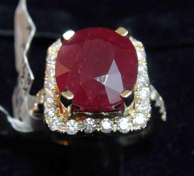 10H: 8.44ct Ruby & 0.84ct Diamond 14KT Yellow Gold Ring