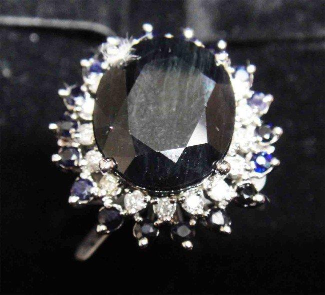 12.38ct. Blue Sapphire & 0.44ct.Diamond 14K overlay