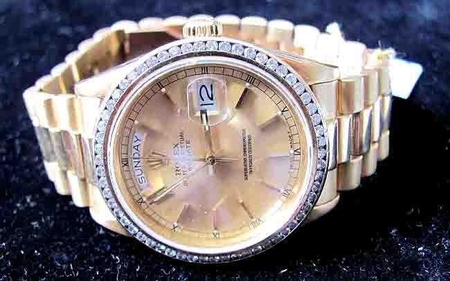 136: Rolex 1.25ct Diamond 18KT Gold DayDate President