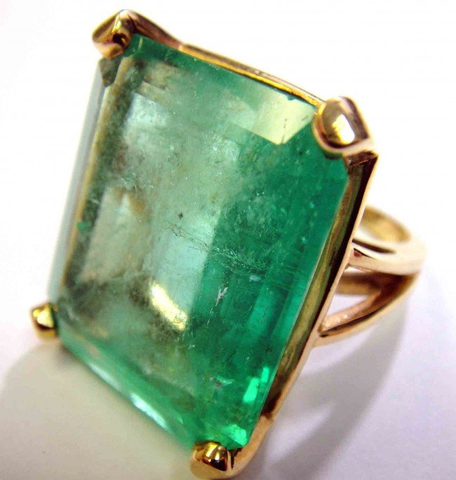 47.03ct Emerald Solitaire 14KT Yellow Gold ladies Ring
