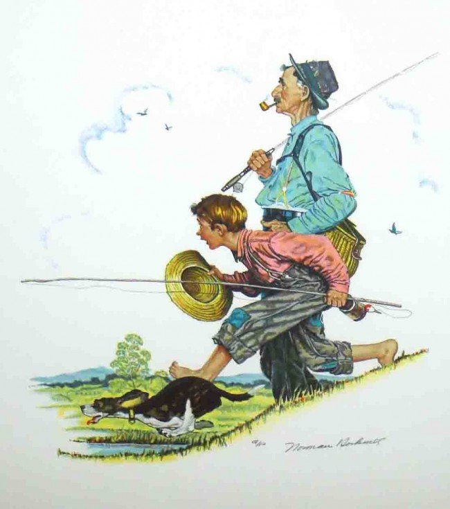"""123F: Authentic Signed Norman Rockwell """"Fishing"""" Lithog"""