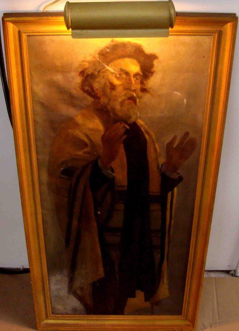 Lornar Korvin III Oil Painting small tear as is Rabbi