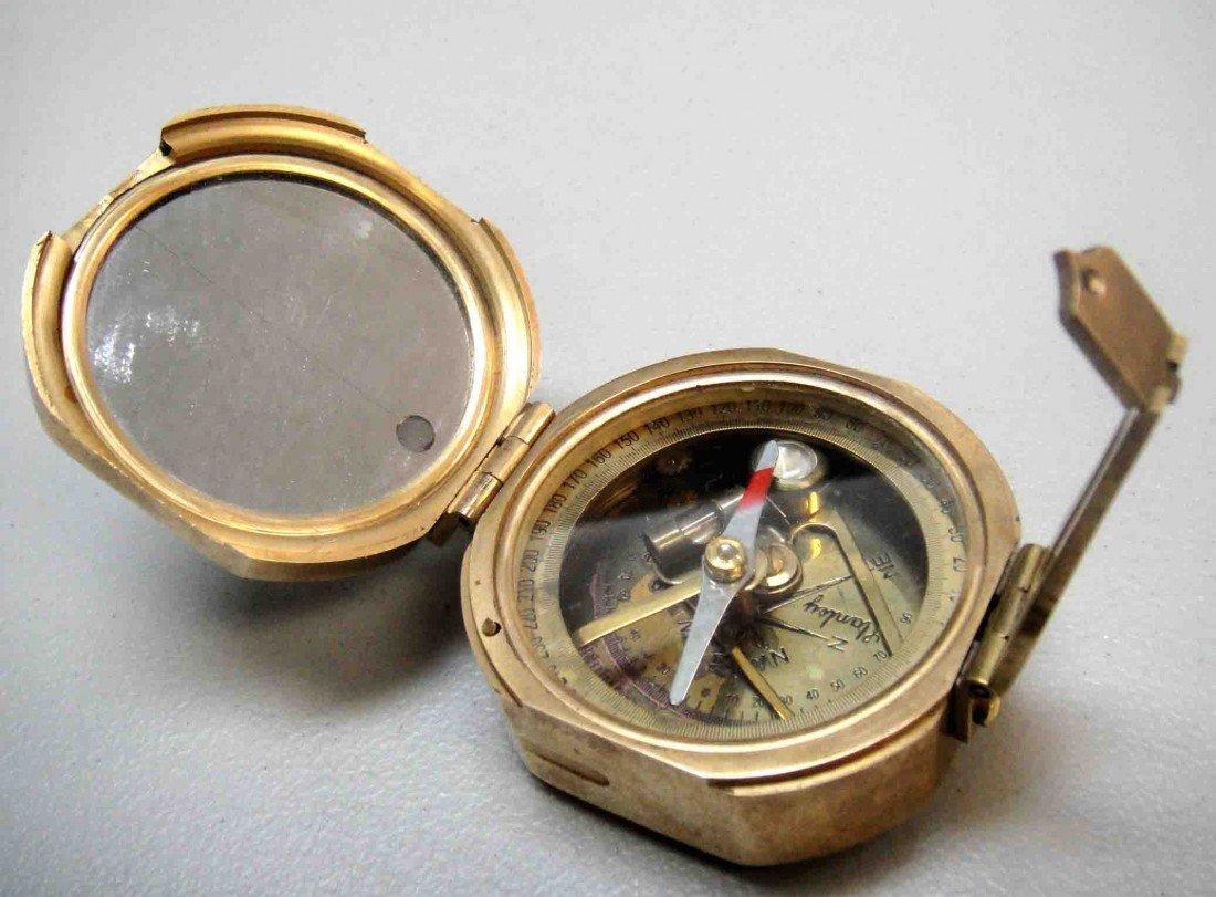 4: Vintage Brass Stanley London Compass & Build-in Mirr