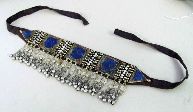 10: 100 Year Old Afghanistan Choker Lapis + Metal Band