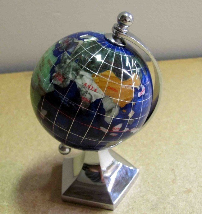 12: Laspis Lazuli GemStone Desk World Globe