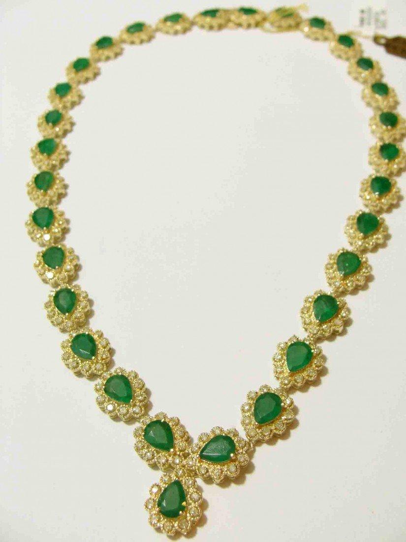 9: 29.74ct Emerald & 5.01ct Diamonds 14KT Yellow Gold N