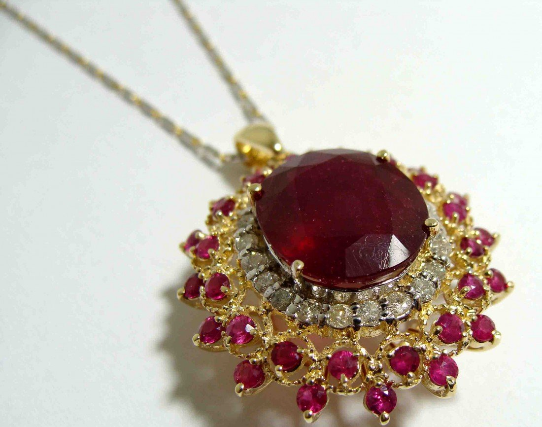 14.38ct Ruby & 0.68ct Dia on 14KT Gold Pendant w/Chain