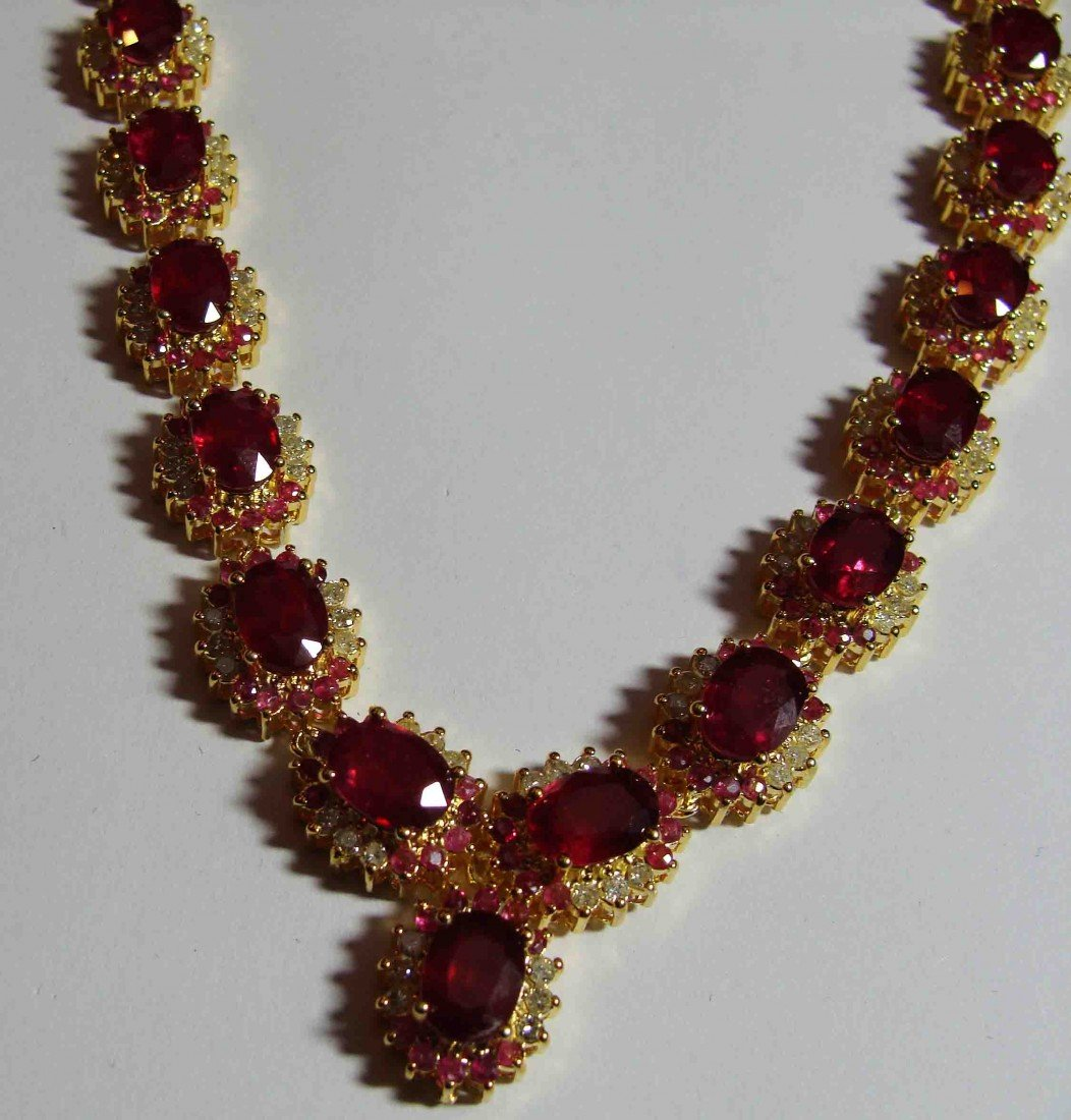 64.91ct Ruby & 3.74ct Diam on 18K Plated Gold Necklace