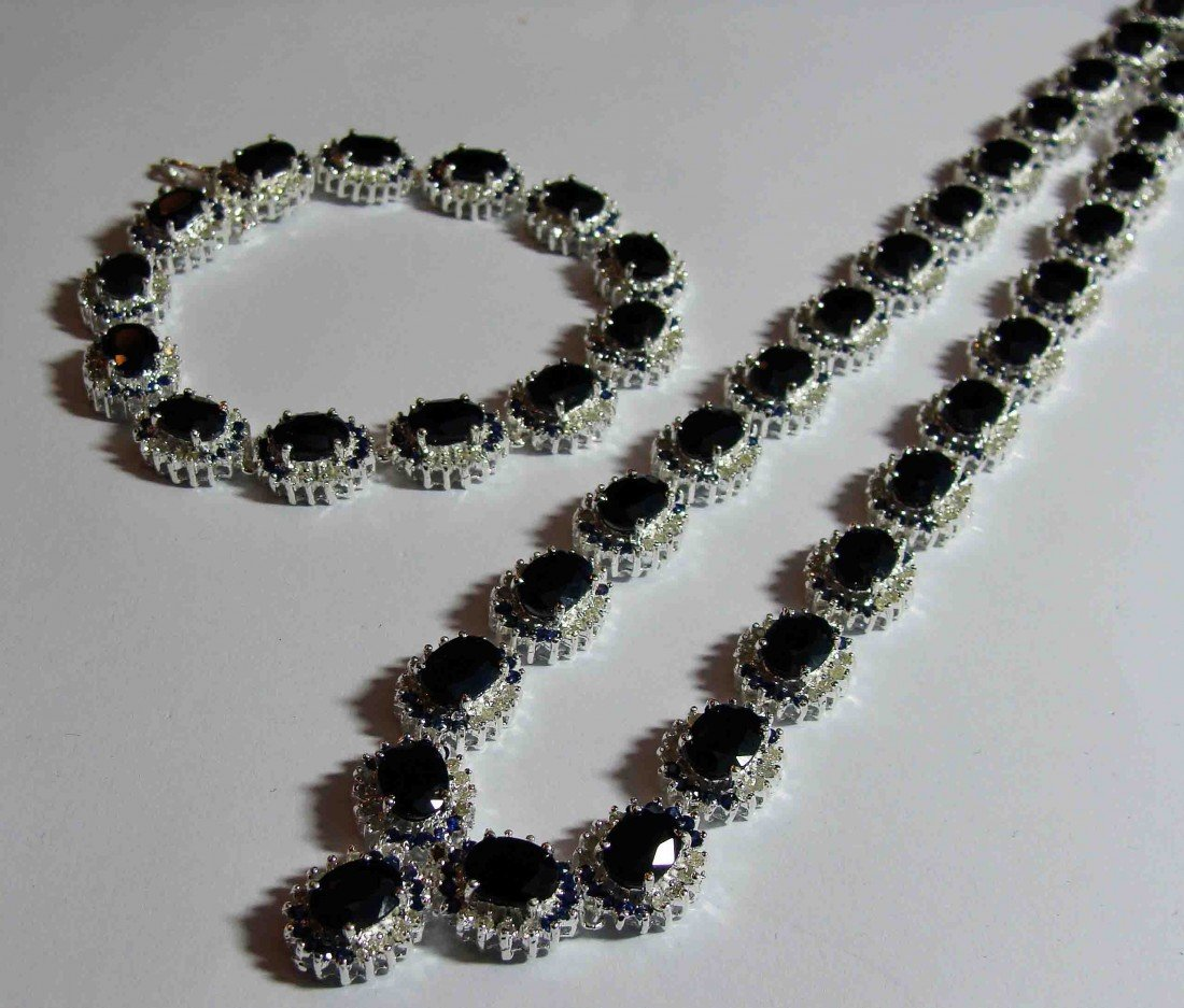 83.73ct. Sapphire & 4.67ct. Diamond on Silver Necklace