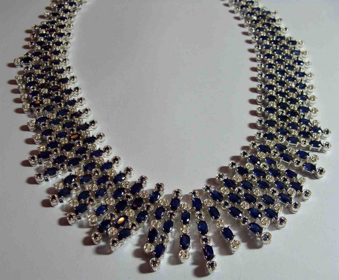 61.85ct Sapphire & 2.00ct Diamond on Silver Necklace