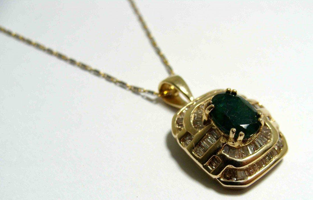 1.20ct Emerald & 1.00ct Dia on 14KTY Gold Pendant w/Cha