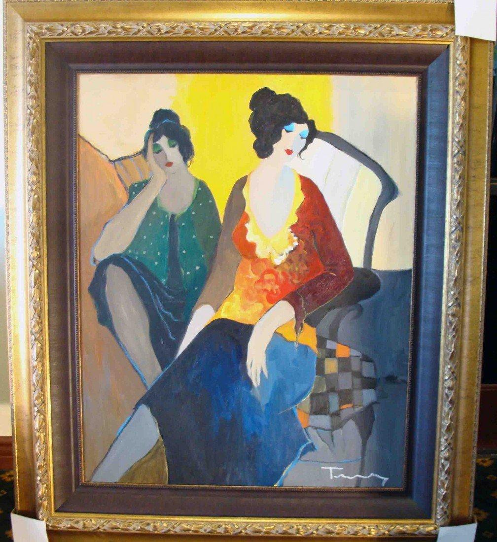 "ORIGINAL Oil Itzchak Tarkay ""Peaceful Rest"" Painting"