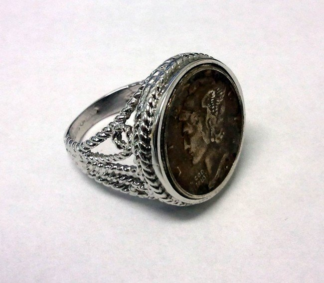 2: Antique Dime Silver Ring