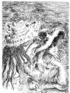 """3: Renoir """"Chapeau Epingle Posthumous Etching 4-3/8"""" x"""