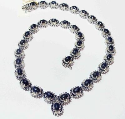 46.81ct Sapphire & 3.41ct Diamond 14KT White Gold Plate