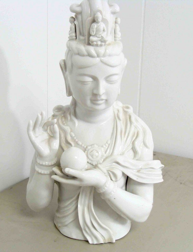 6: Antique Hand Crafted White Porcelain Buddhist Lady