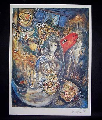 """8: Marc Chagall Lithograph of """"Bella"""" comes with COA"""