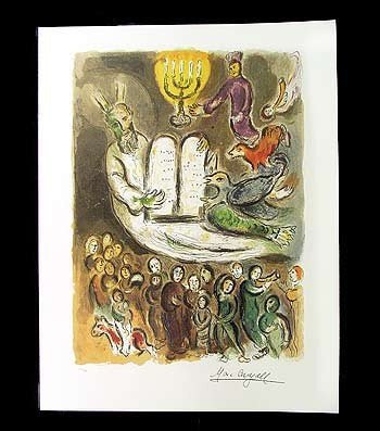 """9: Marc Chagall lithograph of """"Exodus Tablets"""" with COA"""
