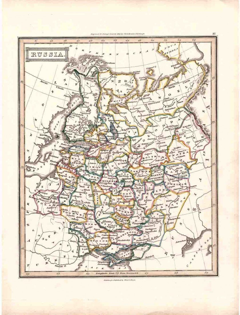 1A: Antique 1800's Engraved RUSSIA Map Colored