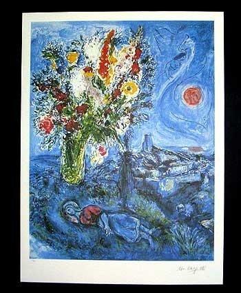 8P: Marc Chagall - LA DORMOUSE AUX FLEURS Unframed