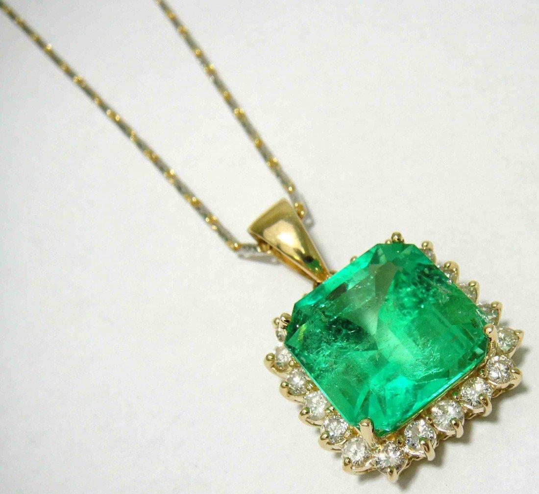 32.50ct Museum Emerald & 3.12ct Dia 14KT Pendant w/chai