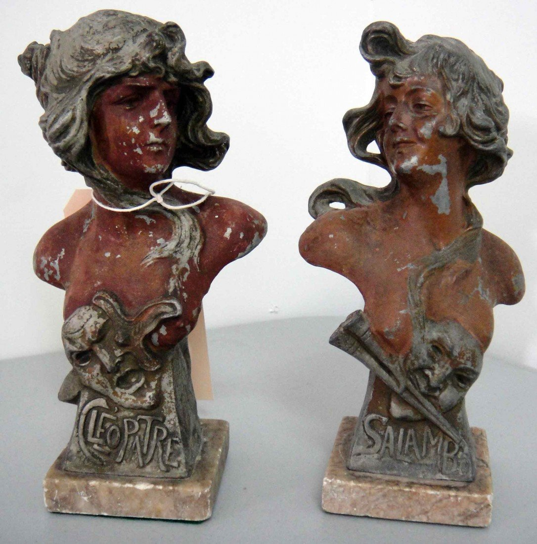 2B: Late 1800's French Pair Female Spelter Figurines