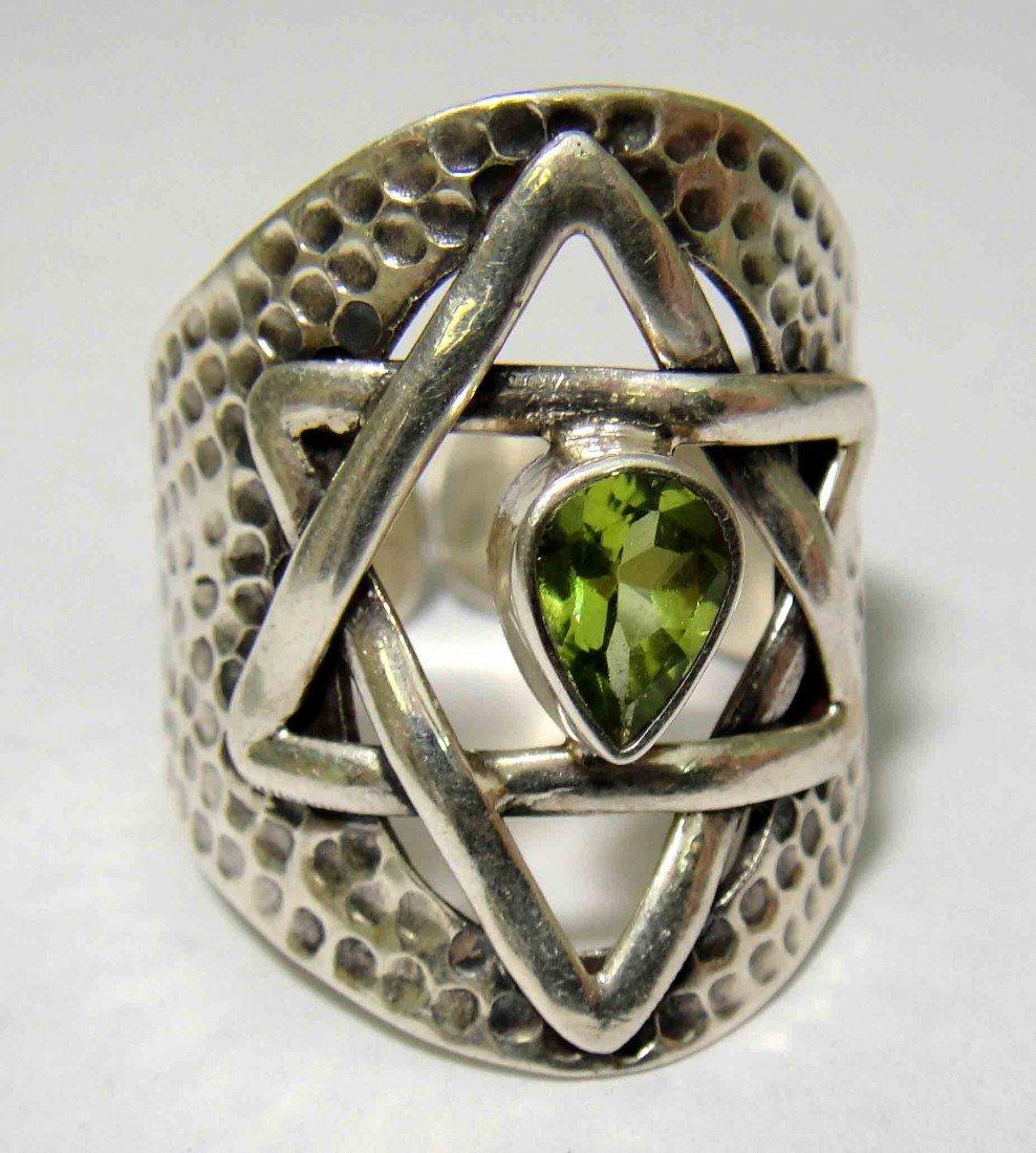 5A: Antique Judaic Star Peridot Silver Ladies Ring