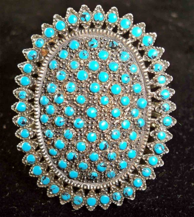 6A: Antique 50+ Year Old Afghan Silver Ring w Turquoise