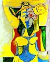 """7: Pablo Picasso """"Seated Woman with Yellow and Green"""" L"""