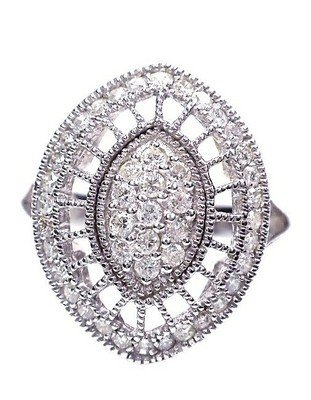 8: 0.70ct Diamond on White 14KT Gold Ladies Cluster R