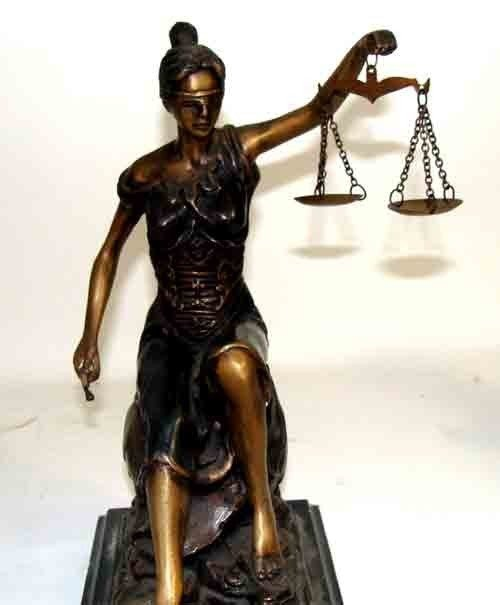 11: Bronze Sculpture of Lady Justice with Scale
