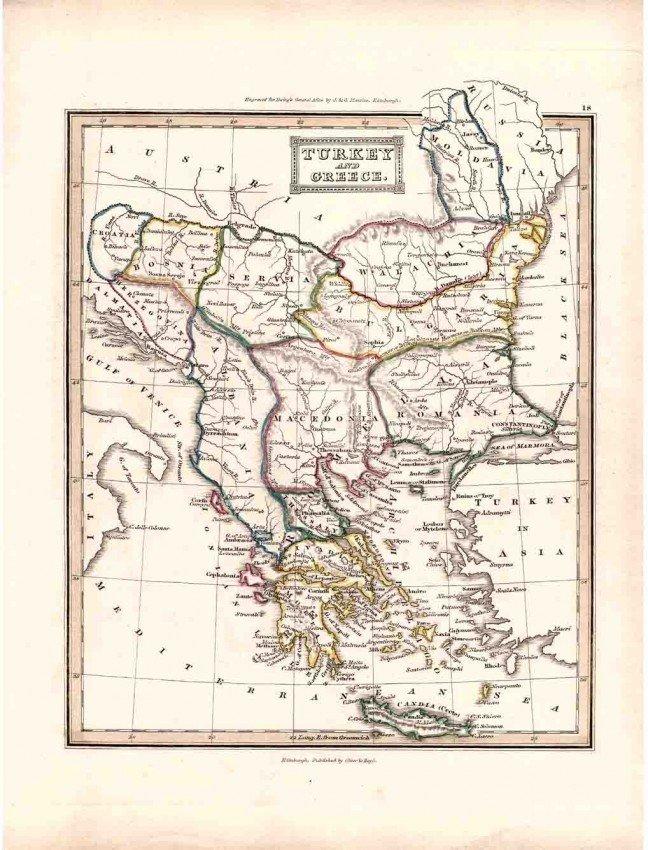 18: Antique 1800's European Engraved Turkey & Greece