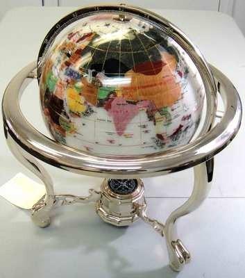 19: Laspis Lazuli GemStone Opal World Globe with Short