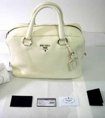 "213: Authentic Prada ""Bauletto"" Pebbled White Leather B"